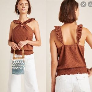 Anthropologie brown marisol ruffled halter blouse